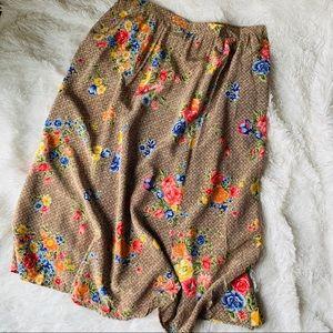 Diane Von Furstenberg Floral Tan Flowy Midi Skirt
